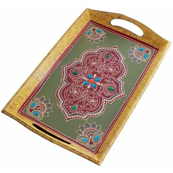 Hand Painted Antique-Look Serving Tray In Mango Wood Benzara Brand