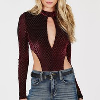 On The Fence Velour Bodysuit