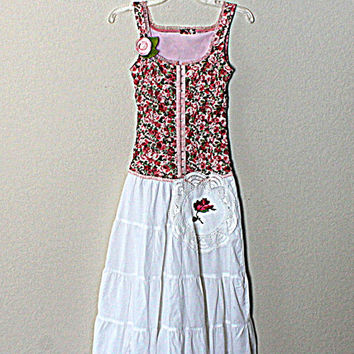 Romantic Dress / Shabby Clothes / Praire Girl Country Chic / Gypsy Clothing