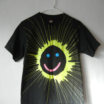 Vintage Smiley Face T Shirt, Size XS-Small, Neon, Rad, Tumblr, Tumblr Clothing