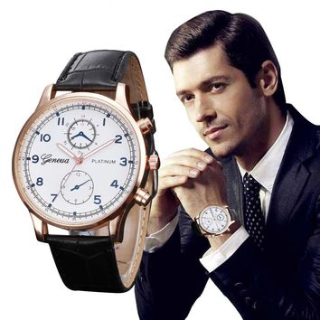 New Fashion Casual Watches Men Business Watches Geneva PU Leather Quartz WristWatch For Men relogio masculino Male Clock
