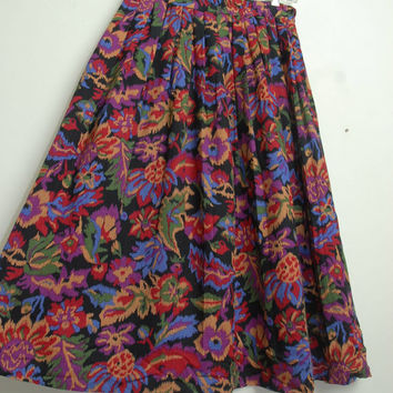Vintage 80s/90s South Western Colorful Floral Pleated Skirt