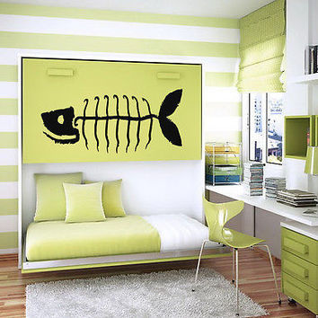 FISH BONES SKELETON ANIMAL CUTE DESIGN  WALL VINYL STICKER  DECALS ART MURAL M13