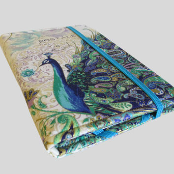 Kindle Cover Hardcover, Kindle Case, eReader, Kobo, Nook, Nexus 7, Kindle Fire HDX, Kindle Paperwhite, Nook GlowLight Gold Paisley Peacock