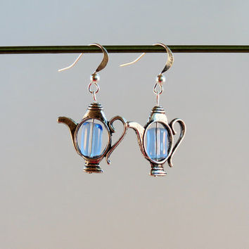 Teapot Earrings With Light Blue Glass Beads on Silver Plated Ear Wires