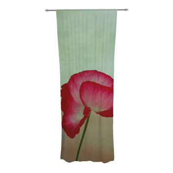 "Robin Dickinson ""La Te Da"" Magenta Poppies Decorative Sheer Curtains"