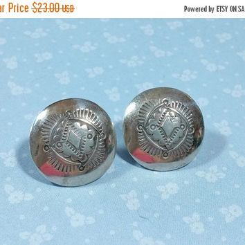 Vintage Native American Stamped Concho Sterling Silver Earrings Round with Posts Southwestern Southwest Style
