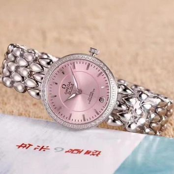 PEAP O044 Omega De Ville Fashion Simple Steel Strap Women Watches Pink