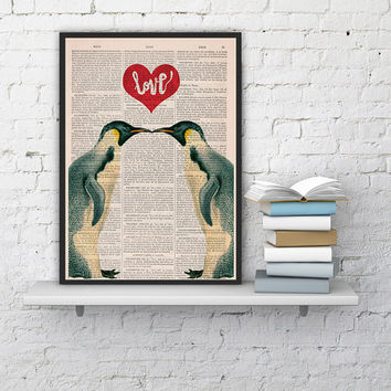Penguins in love- Penguins Red heart Printed on dictionary  Book sheet- Wall art house decor, penguins poster print, wall hanging, love art