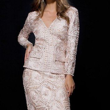 Jovani - 98003 Two Piece Long Sleeves Cocktail Dress