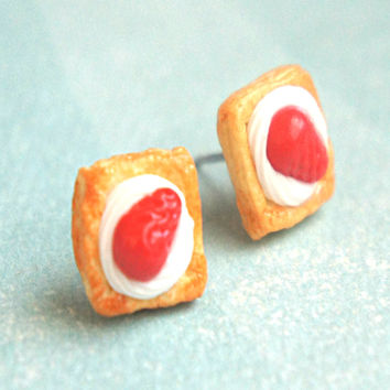 Strawberries and Cream Pastry Stud Earrings