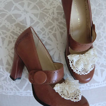 Brown Leather Mary Jane Pumps by Antonio Melani by saffronfields