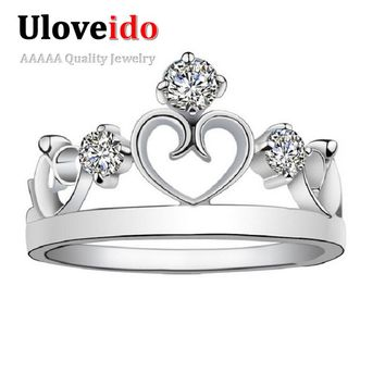 Heart Crown Rings Cubic Zirconia Princess Valentine's Day