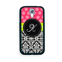 Pink Black Damask K Monogram Samsung Galaxy S4 I9500 Case - Fits Samsung Galaxy S4 I9500