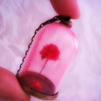 Beauty and the Beast Glow in the Dark Rose Pendant - Enchanted Rose - Rose in a Vial Necklace - Rose in a Bottle - Dome Terrarium Pendant