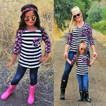 Mommy & Me Stripey Floral Baseball Tee