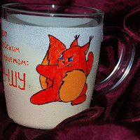 Squirrel Mug, Hand painted coffee mug, Custom Coffee Mugs, Hand Painted Mug, Cappucino Cups