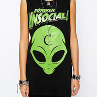 Forever Unsocial Alien Graphic Print Black Long Line Muscle Tee