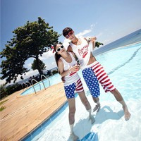 USD Flag Beach Holiday Shorts for Couple