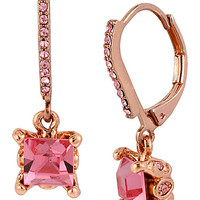 BetseyJohnson.com - PINK CRYSTAL EURO DROP EARRING PINK