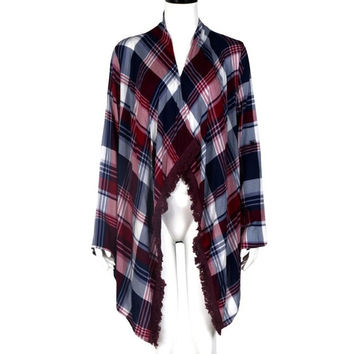 Women Coat Plaid Cardigan Loose Outwear Jacket Casual Long Sleeve Coat Autumn Windbreaker Women Casacas Mujer 2016#C919 SM6