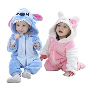Kids Boy Girls Sleepwear Brand Designer Soft Flannel Animal Baby Pajamas Kawaii Warm Boys Girls Hooded Romper Children Sleepwear