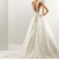 Illusion-Neckline  Appliqued Wedding Dress