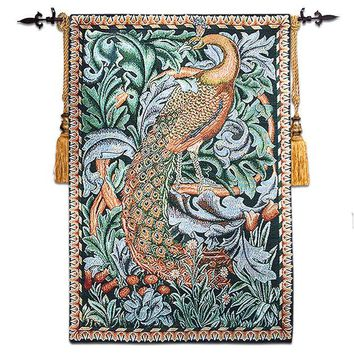 DCCKJG2 free shipping good quality Aubusson jacauard 58*88cm william morris peacock wall hanging tapestry RS-25