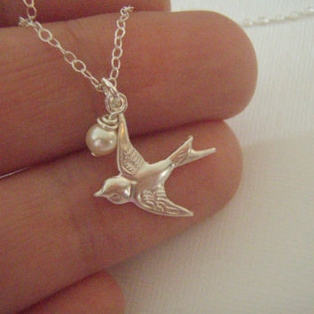SALE- Sterling Silver Swallow Necklace- Bird and Pearl Silver necklace- Solid 925 Silver Sparrow- Free Bird- Dainty necklace