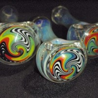 Wig wag color changing silver fumed spoon pipe