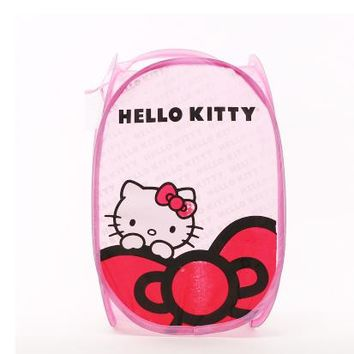 Lovely KT cat Folding Bags Mesh Storage basket, Sorting Bags Laundry Basket dirty clothes bucket Toy basket Oxford fabric bag