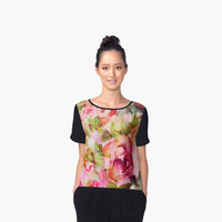'roses abstraites/abstract roses' Top mousseline femme by clemfloral