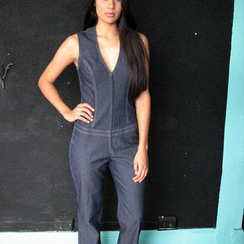 VINTAGE 90s DENIM JUMPSUIT xs s - 1990s jean catsuit bell bottom zipper mesh back - disco revival club kid raver 70s party - xsmall sm med