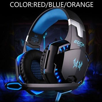 Blue,Orange,Red 3.5mm  LED Gaming Mic Headset Headphones Stereo For PC Laptop PS4 Xbox With Adapter Casques de jeu