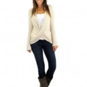 Taupe Top With Lace Back