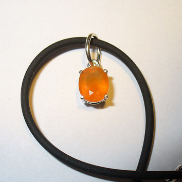 Fire Opal in Sterling Pendant Necklace -  Unisex Design, Genuine Mined Natural Gemstone
