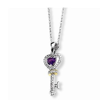 Sterling Silver & 14k Yellow Gold Amethyst and Diamond Heart Key Necklace