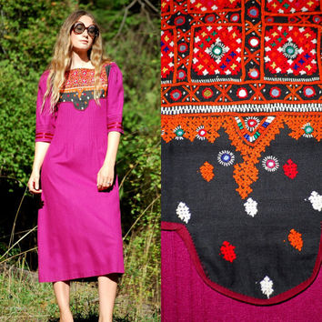 70s Embroidered Indian Dress, Pleated Ethnic Boho Tunic Dress, Mirrored Hippie Dress, Maroon Cotton Caftan, Purple Gypsy Festival Dress