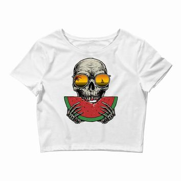 watermelon skull Crop Top