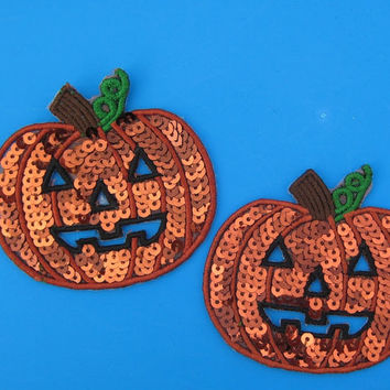SALE~ 2 pcs Iron-on Sequins Patch Halloween Pumpkin 3.25 inch