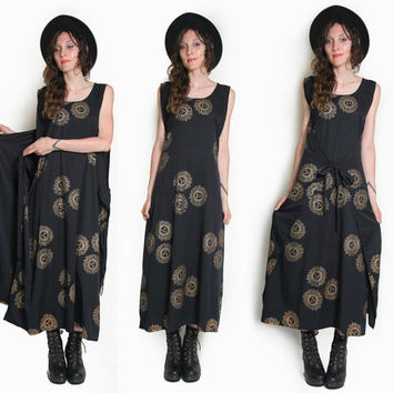 Black Sun Goddess Wrap Around Dress - Black Oversized Dress - Beach Dress - Celestial Dress - Sleeveless - Goth Grunge Boho - Festival Maxi