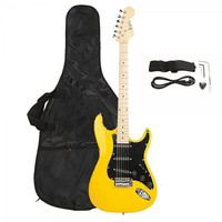 FULL Black Pickguard Electric Guitar Yellow with Amplifier, Bag, Strap, Tools, Pick, Kit