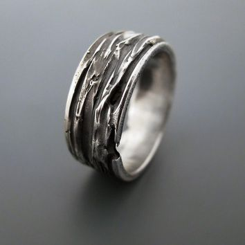 Tree bark  sterling silver ring by junedesigns on Etsy
