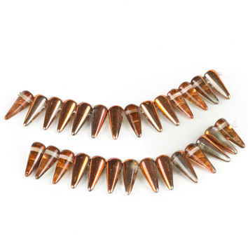 Czech Glass Spikes, Assorted Colors, 5mm x 13mm, 28 Pieces (Sunset)