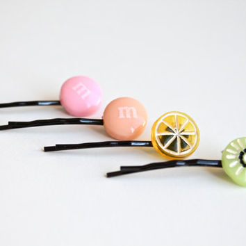 Super Cute Set of Four Juicy Fruit and Candy Hair Pin. Lovely Kiwi and Lemon Hair pin for Summer Season. Adorable Hair pin for teenage girl.
