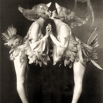 Ziegfeld Follies vintage photo Dolly twins Pinup Risque Sexy Antique photograph Burlesque showgirls art deco 1920s-PRINT