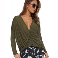 Long Sleeve V-neck Ruched Blouse