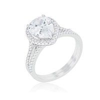 Leoda Pear Halo Engagement Ring Set | 5 Carat | Cubic Zirconia