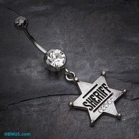 Sheriff Badge Sparkle Belly Ring