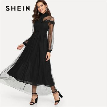 SHEIN Black Elegant Party Tie Neck Dot Contrast Mesh Overlay High Waist Button Trim Solid Maxi Dress Autumn Women Casual Dresses